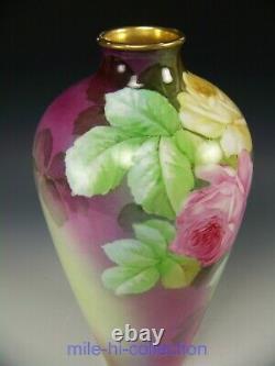 Ginori Italie Peinture À La Main Roses 13 Vase Artiste Signé