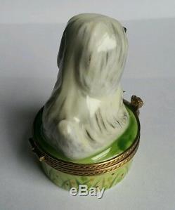 Gr Coffret À Bibelots De Chien De Berger Anglais Gr Limoges, Peint À La Main, En Porcelaine Blanche Et Grise