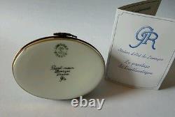 Gr Limoges Main Peint Cheval Blanc Assis Sur La Boîte Ovale De Babiole