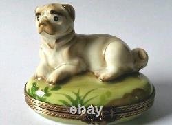 Gr Main Peint Limoges Pug Bulldog Dog Trinket Box