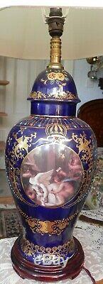 Grand Antique Style Français De Porcelaine Peinte À La Main Lampe Gild Émail Bleu Cobalt