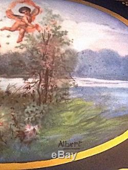 Grand Coffret À Bijoux En Porcelaine Articulée Peint À La Main De Limoges, Chérubins Signés