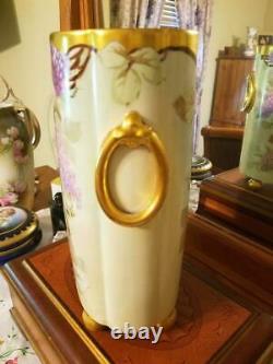 Grand Limoges Peint À La Main Lilas Vase Cachepot, Pickard Artist Reury Signé