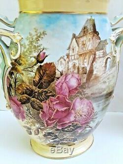 Grand Paire 13 Antique Peints À La Main Bawo Dotter Limoges Scenic Vases Garniture