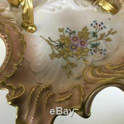 Grand Peint À La Main Gilt Art Nouveau 3 Section Limoges Poignée Bol Plat