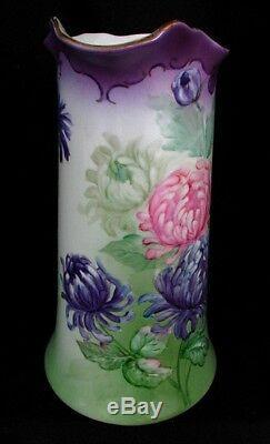 Grand Pichet De Limoges Peint À La Main Chrysanthemums Signé H. Dolson V. 1880