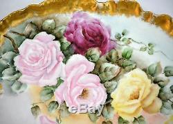Grand Plateau À Assiettes En Or Guilde De Roses Guerin Limoges