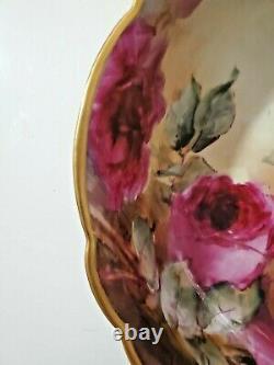 Grand T&v Limoges Porcelaine France Peintre À Pied Peint À La Main Roses 10