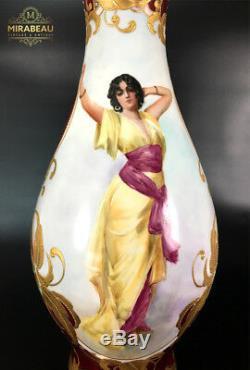 Grand Vase De Limoges France Peint À La Main, Hauteur 19,7 / 50cm, 1890-1932
