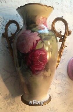 Grand Vase De Limoges Peint À La Main