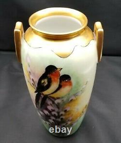 Grand Vase Peint À La Main En Porcelaine Avec Robin Birds & Flowers Signé Jorgensen