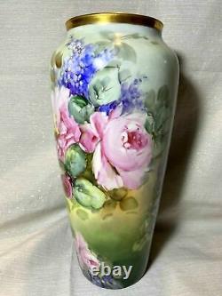 Grand Vase Rose Lilas Peint À La Main De Limoges, Artiste Signé