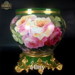 Grande Jardinière De Roses Peinte À La Main De Limoges France, 1892 -1907