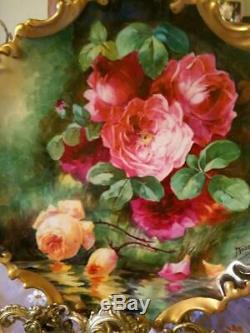 Grande Plaque De Chargeur De Roses Peintes À La Main De Limoges, Artiste Énuméré Signé, Duval