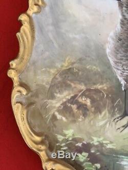 Grande Porcelaine De Limoges Peinte À La Main Oiseaux Signés Plaque Dubois, Tenture 13