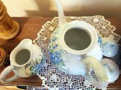 Grande Théière Peinte À La Main De Limoges /ensemble Creamer Sugar Bowl