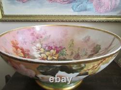 Grands Limoges Antiques Porcelaine France Poinçon À La Main Coup De Poing Bol Fruit Bol Roses Fleur