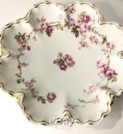 Haviland & Co. Limoges Floral Peint À La Main Roses Rose Doré Arêtes Or Dish