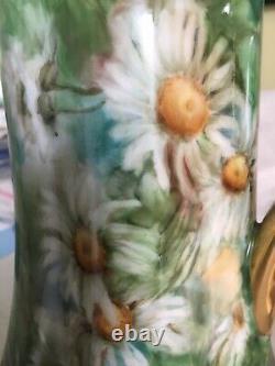 Haviland France Peint À La Main En Vert Chocolate Pot Avec Chrysanthèmes Blancs C1907