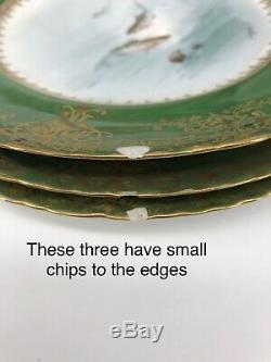 Haviland Limoges 13 Piece Set Poisson Peint À La Main Signé