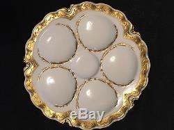 Haviland Limoges 1894-1931 Bordure Dorée À La Main Lourde En Plaque D'huître Blanche