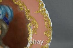 Haviland Limoges Peinte À La Main Marie Antoinette Rose & Raised Plate Portrait D'or