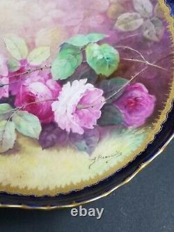Haviland Limoges Peinture À La Main Roses Compote Signée A. Broussillon Bleu Cobalt