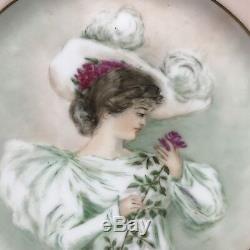 Haviland Limoges Portrait De Femme Assiette Peinte À La Main Artiste Signée Emh 1901