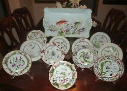 Haviland Porcelaine De Limoges Gibier Peinte À La Main Platter & Microplaques 19 C