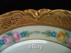 Haviland Service De Porcelaine Peinte Pour 4 Roses Large Or Limoges Assiettes Tasses