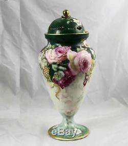 Huge Antique Wg & Co Wm Guerin Limoges France Peint À La Main Vase Urne 18,5 Foré