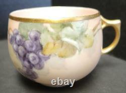 Impressionnante Porcelaine Antique 13 Pièce Peinte À La Main Punch Bowl Cups & Tray