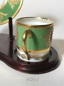 Incroyable Limoges Peinte À La Main Raynaud Jeweled Café Tasse Et Soucoupe