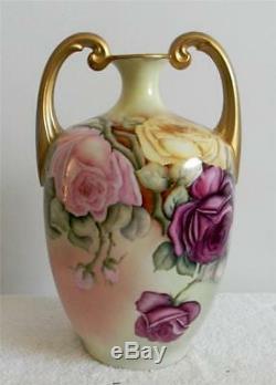 J P L Limoges Main Vase De Roses Peintes Muscle Poignées D'or