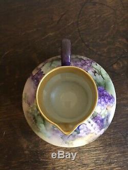 J. Pouyet J P Limoges Art Nouveau Gilt Peint À La Main De Vigne Porcelaine Pichet