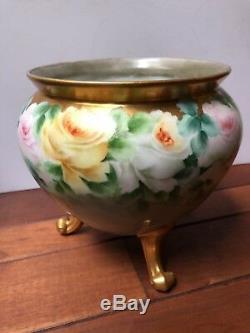 Jardinière En Porcelaine Peinte À La Main Rose Roses Signée Catherine Vase À 3 Pieds