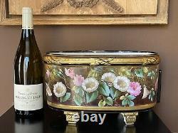 Jardiniere Limoges Vieux Paris Peint À La Main Roses À Pied Bol Ferner Cache Pot
