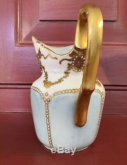 Jean Pouyat France Jeweled & Gilt Decores Creamer C. 1890-1902 / Jp Limoges