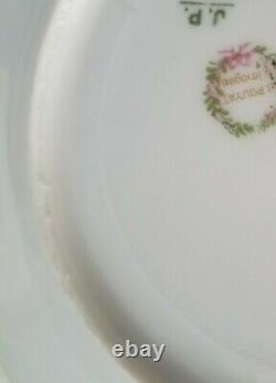 Jean Pouyat Limoge Pink Rose Band Border Cake Dessert Plate Set Hand Paint Chine
