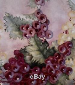 Jean Pouyat Limoges France Grapes Peint À La Main Énorme 16 X 12-7 / 8 Plateau / Plateau