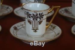 Jean Pouyat Limoges Tasses & Soucoupes À Chocolat Chocolat Peint À La Main Blanc Or Argent