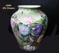 Jean Pouyat Limoges (j. P. L.) France, Peinte À La Main-daté Et Signé Vase-1904