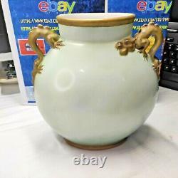 Jean Pouyat Vase Peint À La Main Limoges Français Poignées De Dragon De Porcelaine Rose 9,5