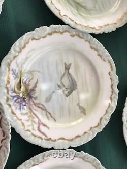 Jeu De Poisson Jp Limoges Plat De Service 10 Assiettes Peintes À La Main Signé Mouston 1896