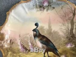 Jeu Peint À La Main Oiseau Artiste Plaque Cabinet Signé B + H Limoges1890s9 1/2 # 1