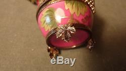 Jeweled Rouge Raisin Peint À La Main Vintage Egg W Bouteille De Parfum Limoges Trinket Box