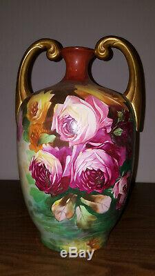 Jp Limoges Decores Roses 13,5 Vase Muscle Or Poignées Et Signé