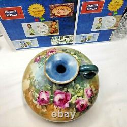 Jp Limoges France Antique Hand Painted Flower Squat Ewer Vase Pitcher