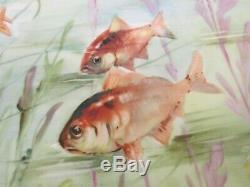 Jpl Jean Pouyat Limoges France Main Painted Fish Platter Signé L. Bipe 16
