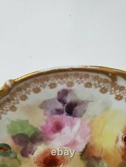 Jpl Jean Pouyat Limoges France Plaque De Gâteau Peinte À La Main Roses Gild 11.5